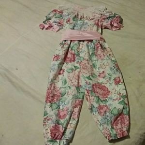 Youngland girls pantsuit with wide ribbon tie